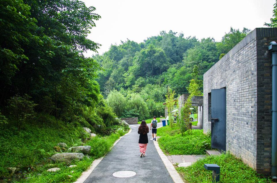 """""""Chengdu panda tour"""", """"Dujiangyan panda center"""", """"girl walking down path from behind"""""""